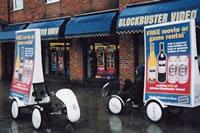 海外のエコ自転車広告導入事例:DVD、ブルーレイ、ゲームのレンタル展開のブラックバスター社
